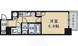 阪急神戸本線 十三駅 徒歩3分の賃貸マンション 10階1Kの間取り