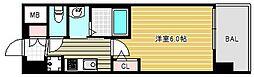 エステムコート難波ウエストサイドVIIグローブ 6階1Kの間取り