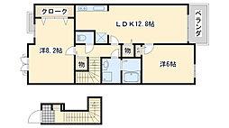 南海線 尾崎駅 徒歩18分の賃貸アパート 2階2LDKの間取り