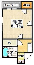 京都府京都市山科区西野山階町の賃貸マンションの間取り