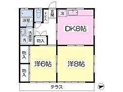 JR京浜東北・根岸線 さいたま新都心駅 徒歩20分の賃貸アパート 1階2DKの間取り