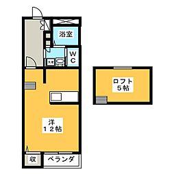 ワンズ江木[2階]の間取り