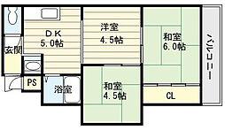 大阪府大阪市生野区舎利寺3丁目の賃貸マンションの間取り