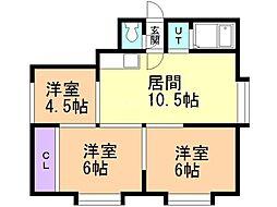 プラムコート花川 3階3LDKの間取り