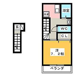 フルーリー中撫川 B棟[2階]の間取り