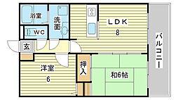 兵庫県姫路市飾磨区城南町1丁目の賃貸アパートの間取り