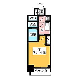 プレサンス桜通ベルノ 12階1Kの間取り