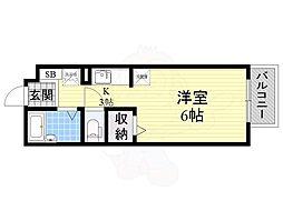 南海高野線 萩原天神駅 徒歩15分の賃貸アパート 2階ワンルームの間取り