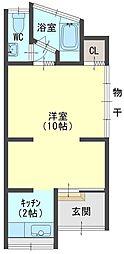 赤川4丁目貸家 1階1Kの間取り