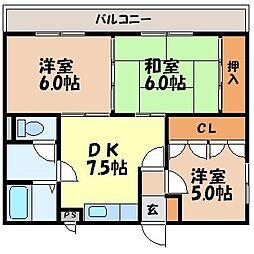 長崎県諫早市若葉町の賃貸マンションの間取り
