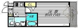 ビガーポリス397 M:COURT天神橋 8階1Kの間取り