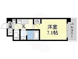 おおさか東線 城北公園通駅 徒歩8分の賃貸マンション 3階1Kの間取り