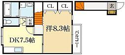 京都府京都市北区上賀茂荒草町の賃貸アパートの間取り