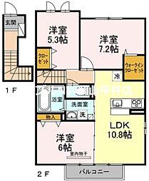 JR山陽本線 高島駅 徒歩17分の賃貸アパート 2階3LDKの間取り
