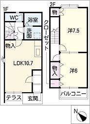 愛知県碧南市三宅町3丁目の賃貸アパートの間取り