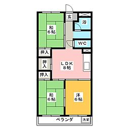 シャトー角田[1階]の間取り