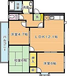 フレグランス学園台 A棟[2階]の間取り