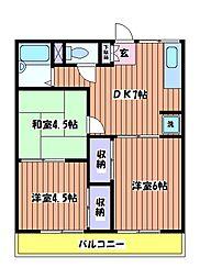 サンコーハイツF[2階]の間取り