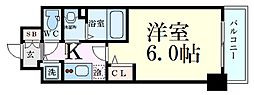 Osaka Metro谷町線 天満橋駅 徒歩5分の賃貸マンション 12階1Kの間取り