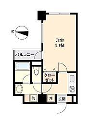 仙台市営南北線 勾当台公園駅 徒歩8分の賃貸マンション 2階1Kの間取り