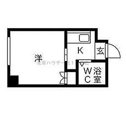 藤井ビル北14条 1階1Kの間取り