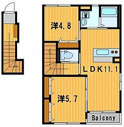 神奈川県横浜市港北区新吉田町の賃貸アパートの間取り