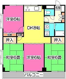 埼玉県所沢市東所沢2丁目の賃貸マンションの間取り