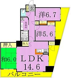 ディナスカーラ五反野[9階]の間取り