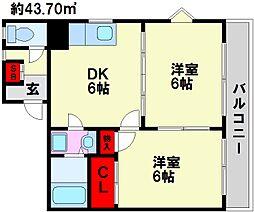 メゾンドールヨコヤマ[705号室]の間取り