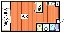 バス 潟原下車 徒歩12分の賃貸アパート 2階ワンルームの間取り