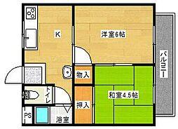 田畑マンションB棟[2号室]の間取り