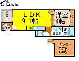 愛知県名古屋市熱田区四番2の賃貸アパートの間取り