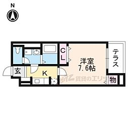 JR東海道・山陽本線 桂川駅 徒歩15分の賃貸マンション 1階1Kの間取り
