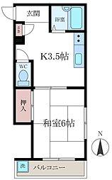 オヌママンション[202号室]の間取り