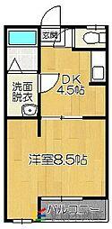 JR香椎線 和白駅 徒歩9分の賃貸アパート 3階1DKの間取り