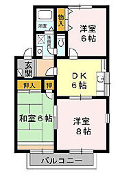 千葉県千葉市緑区あすみが丘8の賃貸アパートの間取り
