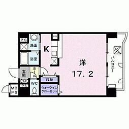 熊本市電B系統 新町駅 徒歩2分の賃貸マンション 2階1Kの間取り