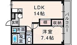 フォレスト・ヒル櫻 2階1LDKの間取り