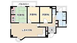 HAKUBI 星ヶ丘[3階]の間取り