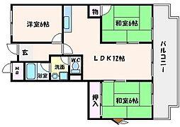 智関第3マンション[2階]の間取り