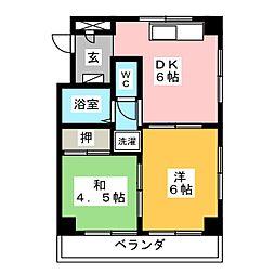 愛知県名古屋市北区生駒町7丁目の賃貸マンションの間取り
