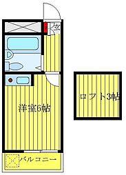 エスペラントメント 2階ワンルームの間取り