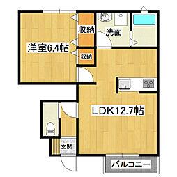 茨城県土浦市乙戸の賃貸アパートの間取り