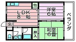 カーザコスモ 中新開1 吉田7分[1階]の間取り