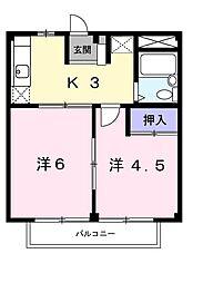 島田ハイツB[201号室]の間取り