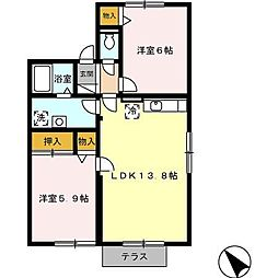 愛知県日進市赤池南2丁目の賃貸アパートの間取り