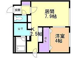 Qualia(クオリア)東札幌 1階1LDKの間取り