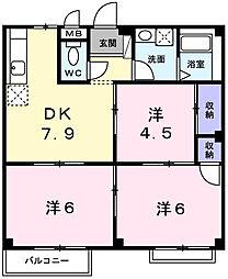 長畑ハイツ[2階]の間取り