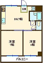 井上ビル 3階2DKの間取り
