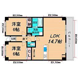 Osaka Metro長堀鶴見緑地線 鶴見緑地駅 徒歩10分の賃貸マンション 5階2LDKの間取り